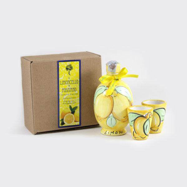Confezione ampollina con limoncello e due bicchieri