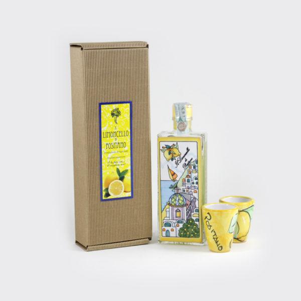 Scatola regalo limoncello con piastrella e bicchieri | Sapori e Profumi di Positano