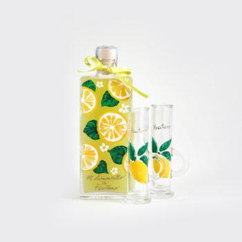 Limoncello con bottiglia e bicchieri dipinti a mano 20 cl