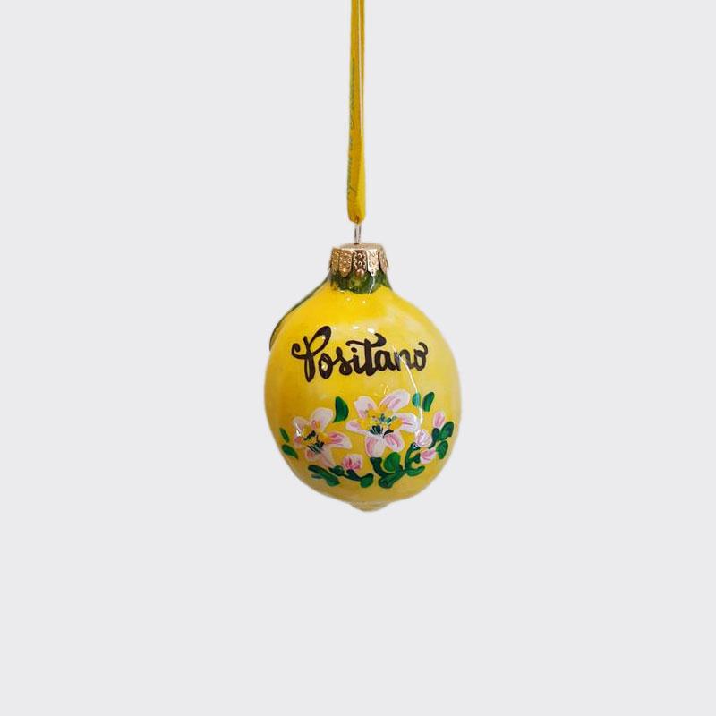 Limone in ceramica con fiori dipinto a mano