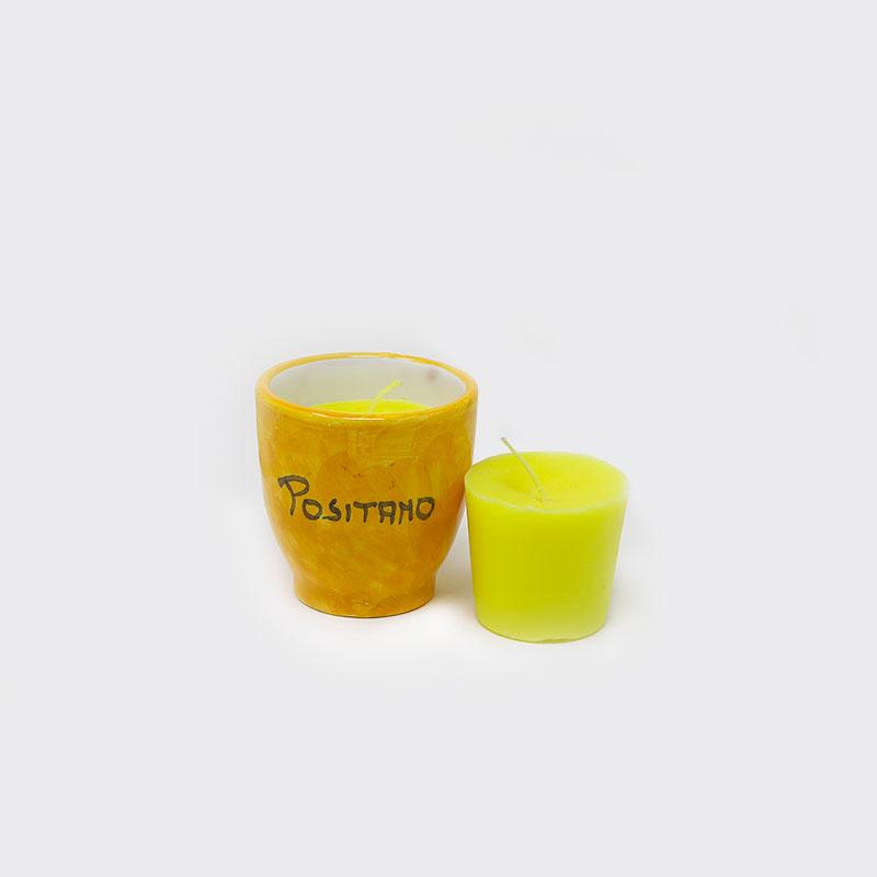 Vasetto in ceramica dipinto a mano con candela al limone e ricarica